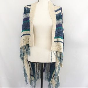 Poof Striped Sweater Cardigan with Fringed Hem